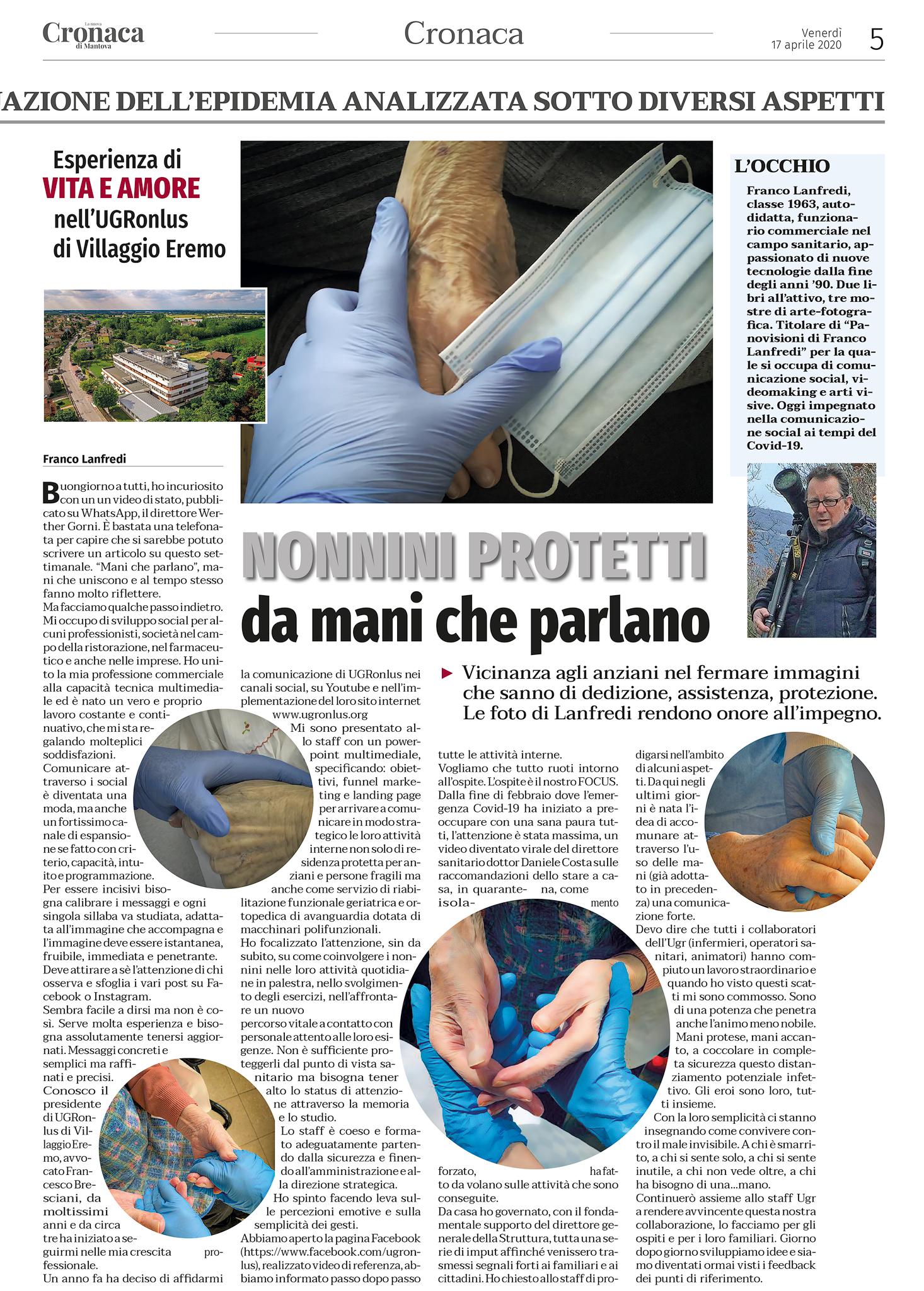 Nelle edicole di Mantova e Provincia il settimanale La nuova Cronaca di Mantova. Questo è l'articolo in riferimento alla nostra struttura UGR ONLUS