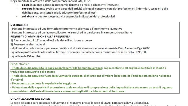 Corso formativo per OSS organizzato da ENAIP MN