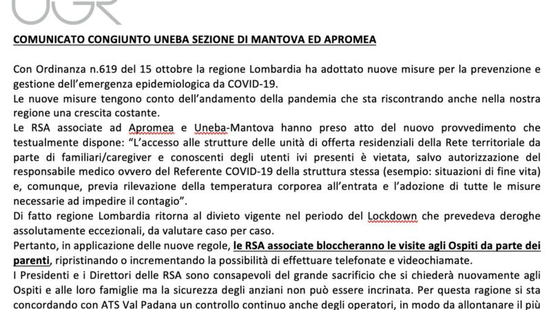 COMUNICATO CONGIUNTO UNEBA SEZIONE DI MANTOVA ED APROMEA