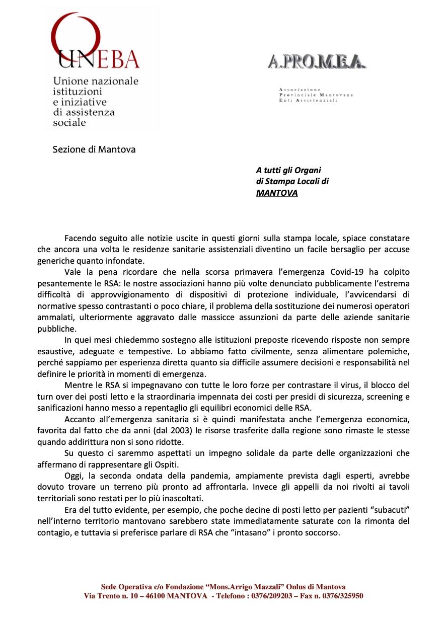 COMUNICAZIONE CONGIUNTA DI UNEBA ED APROMEA MANTOVA IN MERITO ALLE RECENTI NOTIZIE USCITE SUGLI ORGANI DI STAMPA LOCALI