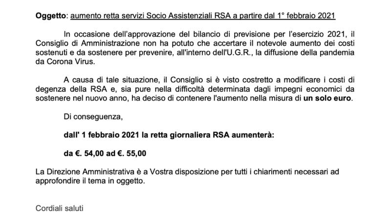 Aumento retta servizi Socio Assistenziali RSA a partire dal 1° febbraio 2021